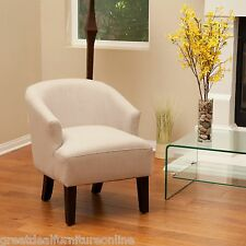 Modern Design Beige Putty Linen Fabric Accent Chair