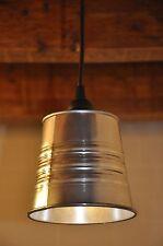NEW Industrial Look Pendant Light Fixture Lamp Galvanized Steel Plug Canopy
