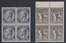 Australia Sc 247, C6 Mnh. 1949 Air Mail + 1952 Kgvi, blocks of 4 F-Vf