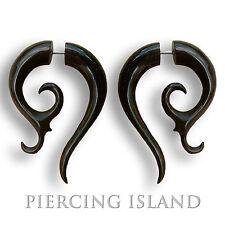 1 Paar Ohrringe GESCHRAUBT Fake Piercing Sichel Horn Schwarz F014