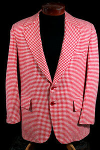 VINTAGE RED & WHITE CHECK 1980'S CASHMERE SAKS FIFTH AVE SPORT JACKET SIZE 42