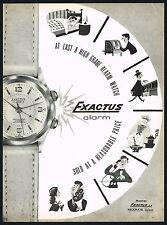 1950's Old Vintage 1956 Exactus Swiss Alarm Watch Mid Century Art Print AD