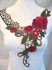 "15"" *Rose Floral - Embroidered* Neckline Applique *Just Beautiful*"