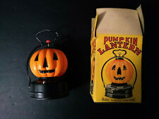 Vintage 1950s Battery Operated Pumpkin Jack-o-Lantern Halloween Lamp - RARE!