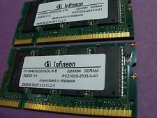 Infineon lot of 2ea/ 256mb PC2700 CL2.5 DDR1 SO-DIMM modules(HYS64D32020GDL-6-B)