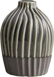47th & Main AMR935 Dual Tone Ribbed Gray Vase - Small
