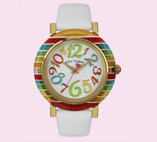 🌈 Betsey Johnson Colorful RAINBOW Whimsical Number White Leather Strap Watch 🌈