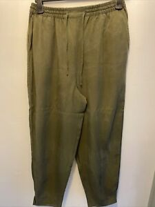 Oliver Bonas Khaki Green Colour Drawstring Relaxed Style Trousers Size 12