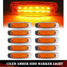 10x Amber Clear Lens Side Marker Light 12LED Panel Under Cab For Peterbilt 379