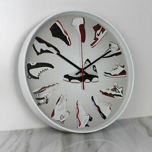 """14"""" Large Luxury Quartz Wall Clock Nike Air Jordan Sneaker Head HypeBeast Decor"""