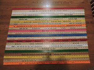 23 Yardstick Wood Wooden Ruler Lot Advertising Sign Color Art Craft Hobby NOS