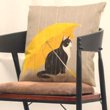 CAT with UMBRELLA, Sitting in the Rain, Cushion Cover, Quality linen blend.