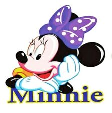 "Minnie Mouse Patch Heat Transfer Sticker Hot Fix 2.36"" X 3.15"" Purple Bow"