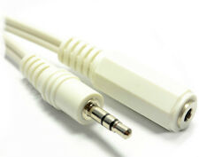 3.5mm Stereo Jack Socket to 3.5mm Stereo Jack Plug Extension Cable, White, 1.2m