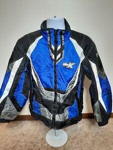 CastleX Snowmobile Jacket Men's Small Blue Black White Platform Coat