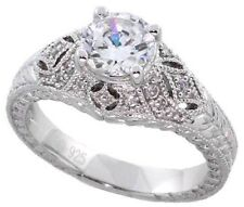 Silver .75ct Vs1-D Ideal Cut Simulated Diamond Bridal Solitaire Engagement Ring