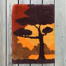 Vintage Mid Century Modern Latch Hook Rug Wall Hanging Art 1960's Acacia Tree