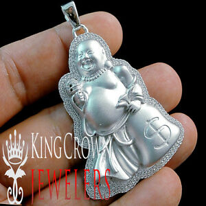10K White Gold Over Silver Simu Diamond Mens Laughing Buddha Pendant Pave Charm