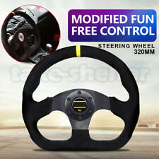 Black 320mm Universa Suede Leather Fit Flat Racing Sport Drift Steering Wheel AU