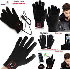 Bluetooth 3.0 Touch Screen Talking Gloves Hi Call Mic Headset for iPhone Usstock