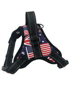 Dog Puppy Harness with Handle, No Pull, Quality Adjustable Vest Mesh, Flag Small
