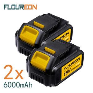 2X FLOUREON 20V 6000mAh Li-ion Battery For DEWALT Drill DCB200 DCB184 DCD740