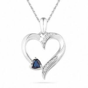 Heart-Shaped Blue & White Sapphire and Heart Pendant in Sterling Silver