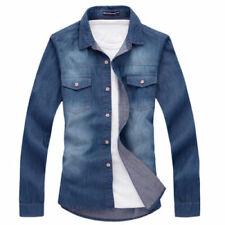 New Fashion Mens Casual Stylish Slim Fit Denim coat blue size L