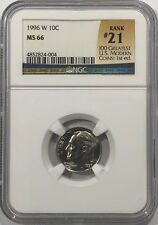 1996 W ROOSEVELT DIME NGC MS66 # 21 OF 100 GREATEST US MODERN COINS KEY DATE