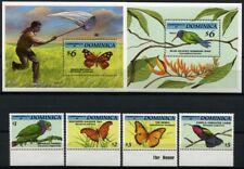Schmetterlinge Butterflies 1994 Dominica Vögel Birds 1808-1811 + Bl.256-257 /226