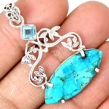 Sleeping Beauty Turquoise & Blue Topaz 925 Silver Pentant Jewelry PP24534