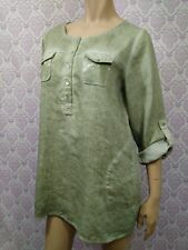 Soft Surroundings Sequined Linen Tunic Womens Size M Green Adjustable Sleeves