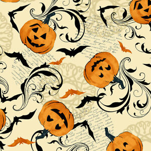 Andover MIDNIGHT HAUNT Pumpkin Scroll 9780L 100% Cotton Craft FABRIC (per1/4m)