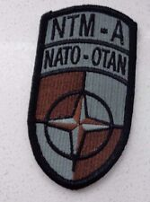 ARMY PATCH, NATO TRING MISSION AFGHAN, ACU, BROWN  W/ HOOK TAPE FASTENER