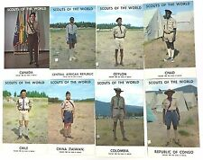 T8717    BOY  SCOUTS of the WORLD     POSTCARD LOT,   8  DIFFERENT  CARDS