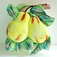"""VTG Wall Pocket 3D Pears Leaf Ceramic Made in JAPAN 5 1/2"""" tall"""