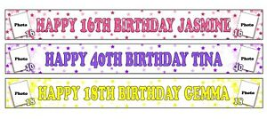 PERSONALISED BANNERS NAME AGE PHOTOS BIRTHDAY PARTY TINAS 9TH 10TH 11TH 1ST A2