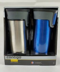 Contigo AUTOSEAL West Loop Travel Mugs 16oz, 2-Pack: Monaco & Stainless Steel