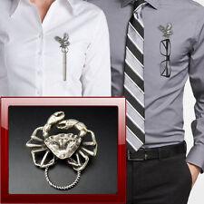Crab R30 Pewter Pin Brooch Drop Hoop Holder For Glasses,Pen,Jewellery
