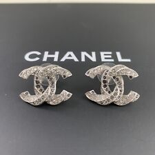 11956a0d4 NEW Chanel Logo Silver Tone Crystals Twisted LARGE 1