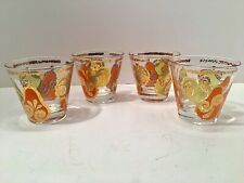 Mcm Mid Century Georges Briard Barware Low Ball Glasses Pear Apple Gold Signed 1