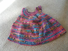 Hand crocheted multi coloured baby girl dress - for age 3-6 months