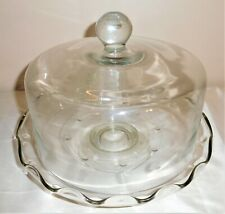 """VINTAGE PRINCESS  HOUSEHERITAGE ETCHED DOME CAKE PLATE STAND 12.5""""W"""