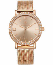 Timothy Stone Women's 'Indio' Minimalist Crystal Set Rose Gold Tone Mesh Watch