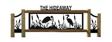 PERSONALIZED BLUE HERON AND CATTAIL CEDAR LOG SIGN