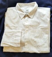 Asos Mens Shirt 100% Cotton Button Front Casual L/S Beige Geometric Print 2XL