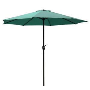 9FT Table Umbrella Outdoor Garden Patio Push Button Folding 8 Ribs Green