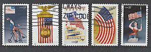Scott #3776-80 Used Set of 5, Patriotic Flags