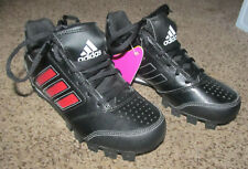 Adidas Shoes Size 2.5 Baseball Softball Cleats Black Red Boys Athletic NEW NWT