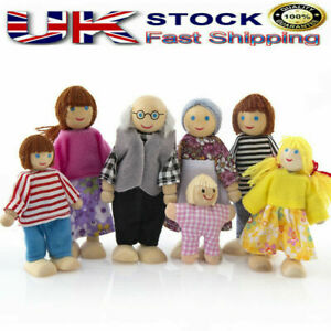 7 People Doll Wooden Furniture Dolls House Family Miniature For Kids Play Toys